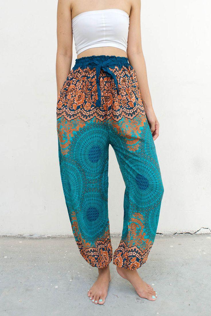 Slim Fit Floral Yoga Mandala Bohemian Thai Pants Turquoise & Orange