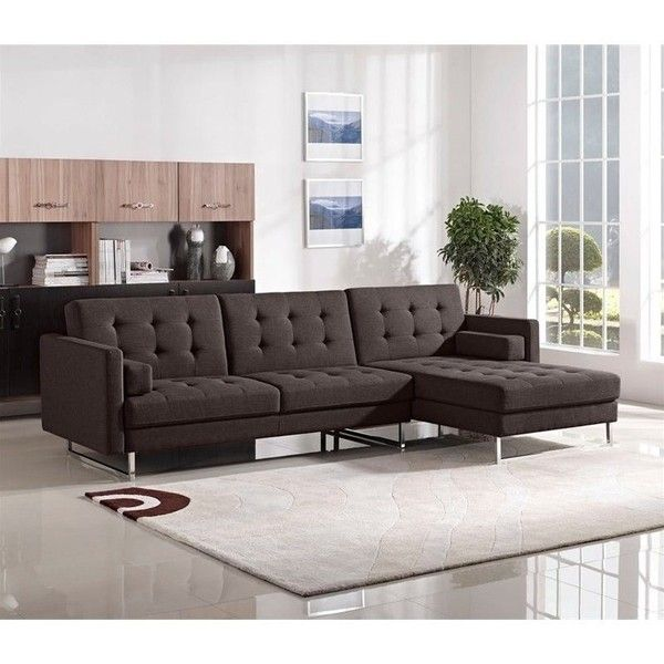 Diamond Sofa Opus Right Convertible Chaise Sectional (3.685 BRL) ❤ liked on Polyvore featuring home, furniture, chocolate, chocolate sectional, dark brown sectional, diamond sofa furniture, espresso color furniture and dark brown furniture