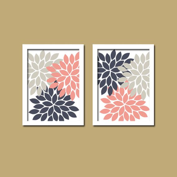 Navy Bathroom Wall Decor : Bold colorful pink navy gray grey floral flower burst set