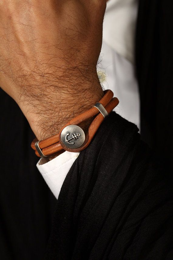 Brown leather bracelet, mens leather bracelet, CAPTAIN'S bracelets, silver and leather bracelets, Nautical Gift,Anchor Bracelet,Navy Gift.