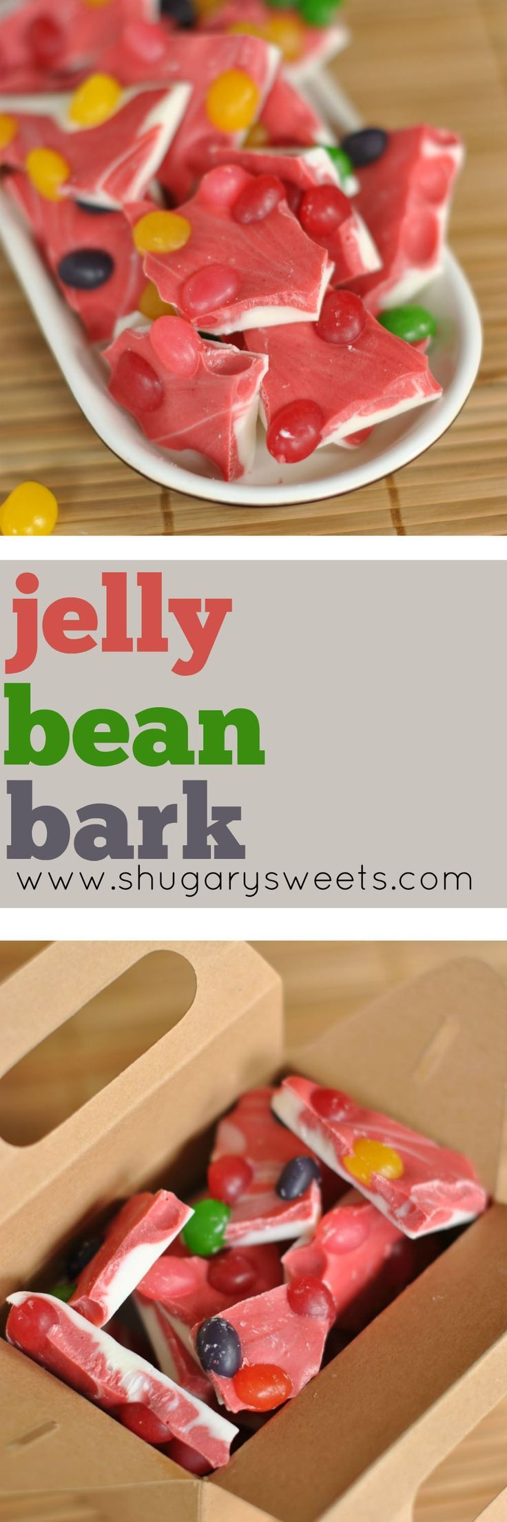 Super simple Jelly Bean Bark recipe made with Duncan Hines frosting creations packet. Perfect for Easter!