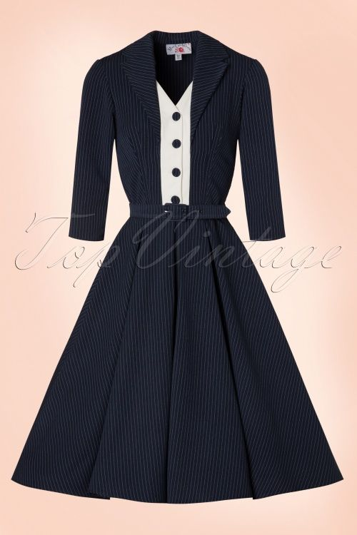 Miss Candyfloss TopVintage Exclusive Navy Pinstripe Swing Dress 102 39 19339…