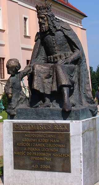 the monument of the king Casimir III of Poland in Niepołomice,