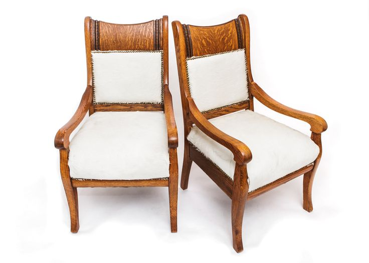 We love these Western chic horse hide duo. #chairs #rustic #EBTH