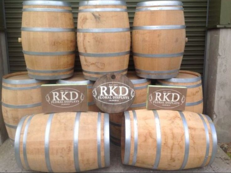 Small wine barrels supplied By RKD Floral Displays