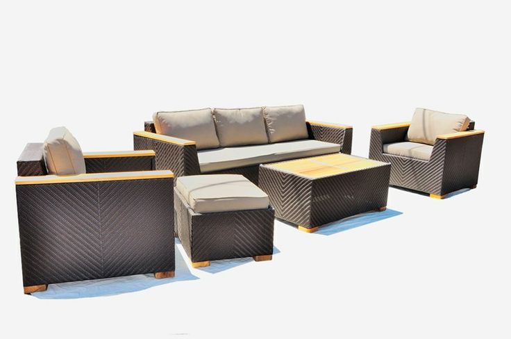 Teak and Wicker Sofa Setting