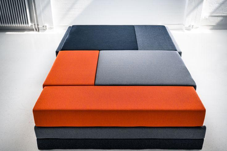 Hanasaari 3-seater sofabed by Ateljé Sotamaa.  Stage 3 / Bed.