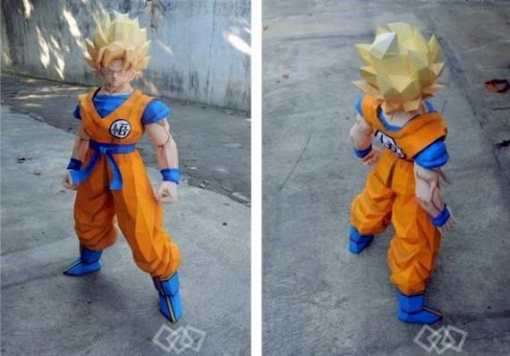 Dragon Ball Z - Goku SSJ1 Paper Model - by Paper Juke More one nice paper model by French designer Paper juke. This is Goku SSJ1, with 50cm tall. To view and print this model you will need Pepakura Viewer Free Version (link at the end of this post).