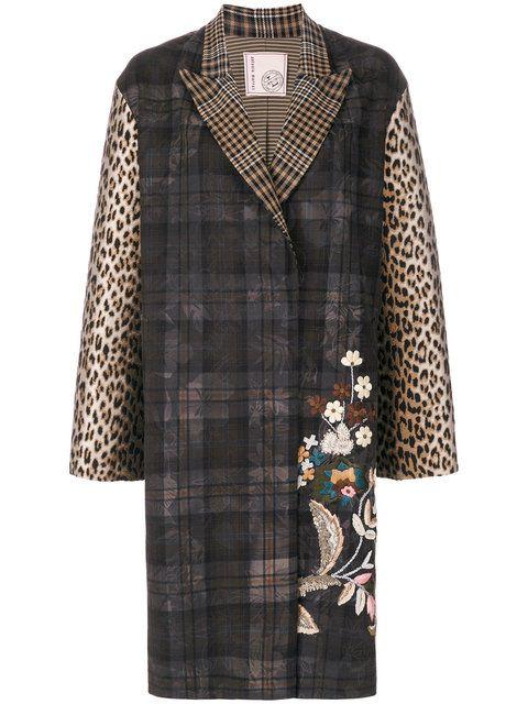 Купить Antonio Marras клетчатое пальто с цветочной вышивкой.