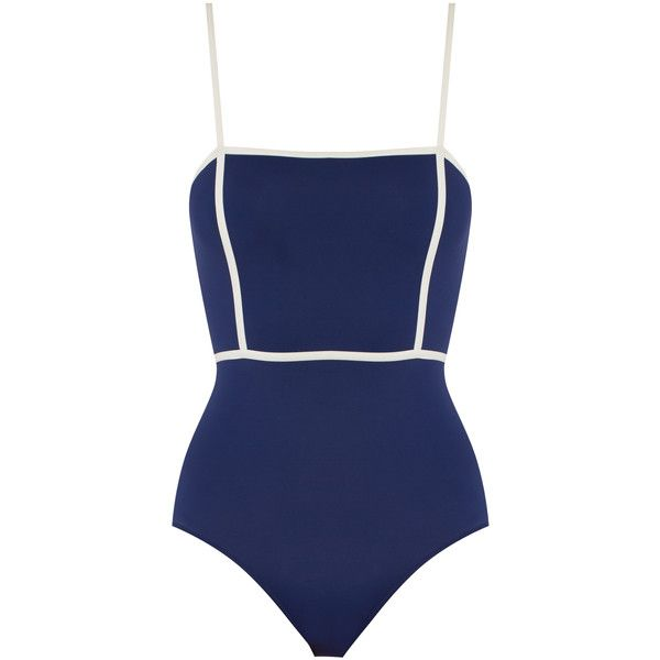 Solid & Striped The Lexi swimsuit ($158) ❤ liked on Polyvore featuring swimwear, one-piece swimsuits, blue white, bathing suit swimwear, navy one piece swimsuit, navy blue swimsuit, swimsuit swimwear and navy blue bathing suit