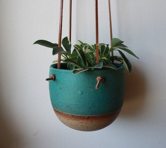 Small Hanging Planter Turquoise Leather And Ceramic Brown Knotted Leather Handmade Pottery Plant Pots Handmade Ceramic Planters Small Hanging Planter