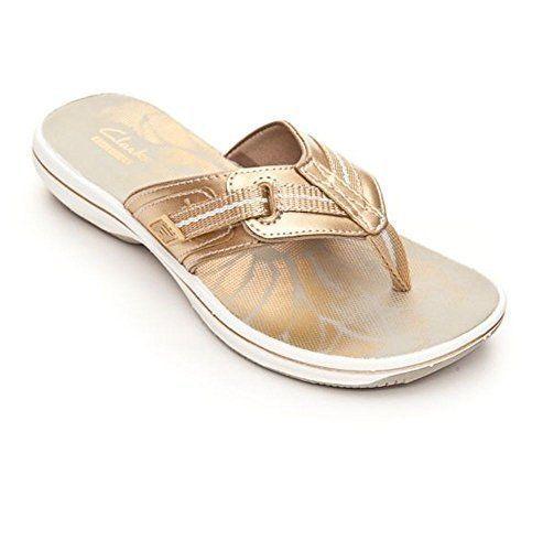 CLARKS Brinkley JAZZ  Women's Size 10 Gold Metallic Flip Flop Sandals ~Free ship #CLARKS #FlipFlops