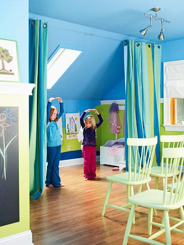 An under-the-eaves space in this playroom becomes a stage for creative performances.