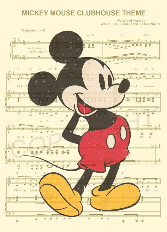 Vintage Mickey Mouse Art Print by AmourPrints on Etsy