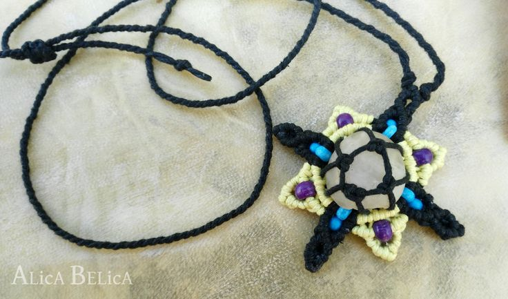 Universe Flower, macrame necklace, brook stone and beads, amulet for spiritual journey, psychedelic, jewelry, fantasy, sci-fi, fairy, gift by AlicaBelica on Etsy