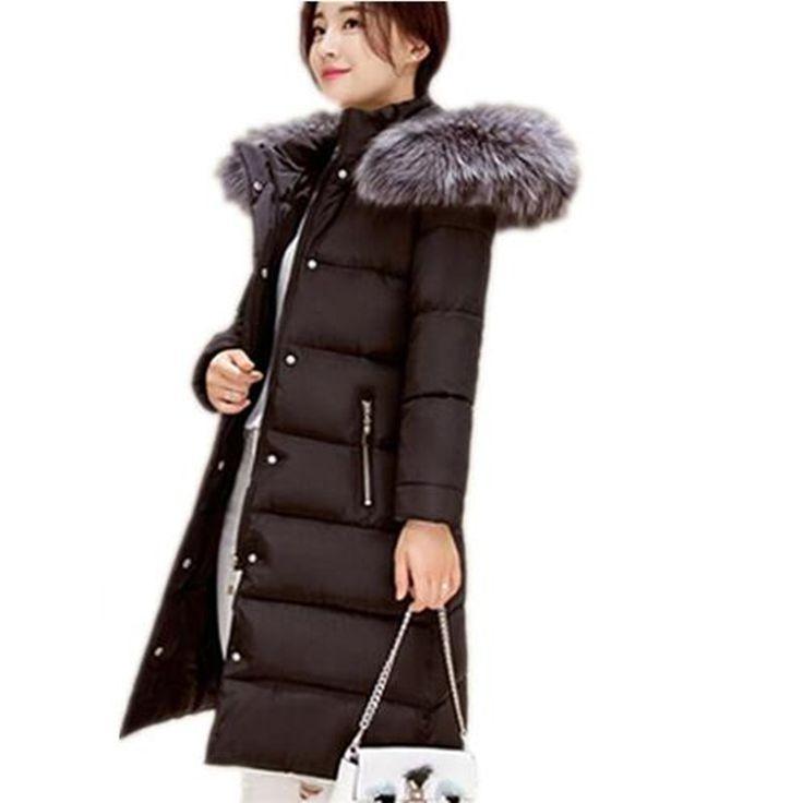 2017 Baru mode parkas Pakaian Luar Musim Dingin kerah bulu Parka mujer Wanita Kerudung berlapis kapas Mantel Menengah-panjang Kasual Jaket JX019