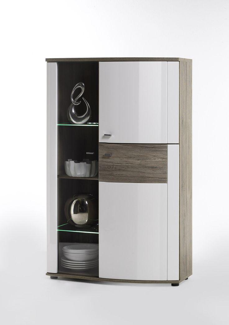 highboard weiss hochglanz eiche nachbildung woody 41. Black Bedroom Furniture Sets. Home Design Ideas