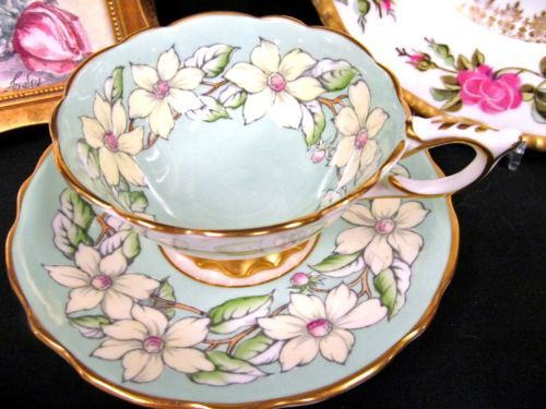 Royal Stafford tea cup and saucer Dogwood Garland painted pastel green teacup