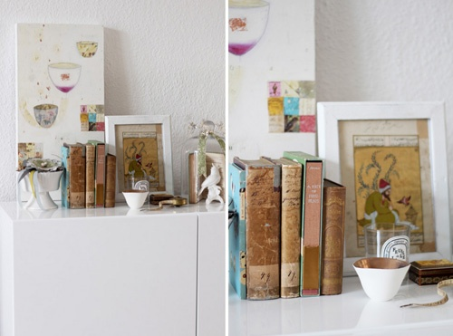something old, something new...: Vintage Books, Books And Colors, Colors Combos, Clean, Interiors Design, Canvas, Adorable Vintage, People Books, Old Books
