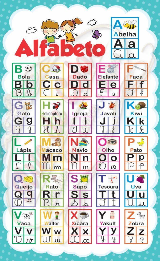 Banner Pedagogico Alfabeto 0 60 X 1 00 M Com Imagens Atividade