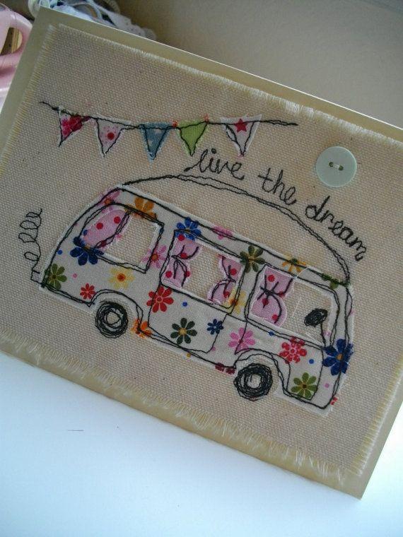 Handmade Card Camper Van Birthday Card Blank by SewSweetbySuzanne