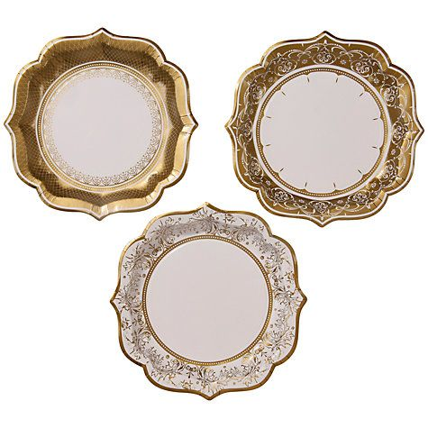 Buy Talking Tables Party Porcelain Paper Plates, Pack of 12 , Gold Online at johnlewis.com  41p