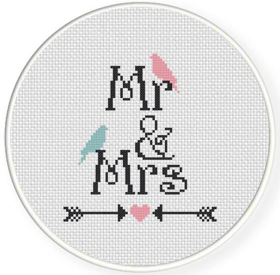 Looking for your next project? You're going to love Mr And Mrs Cross Stitch Pattern by designer teamembro3703945.