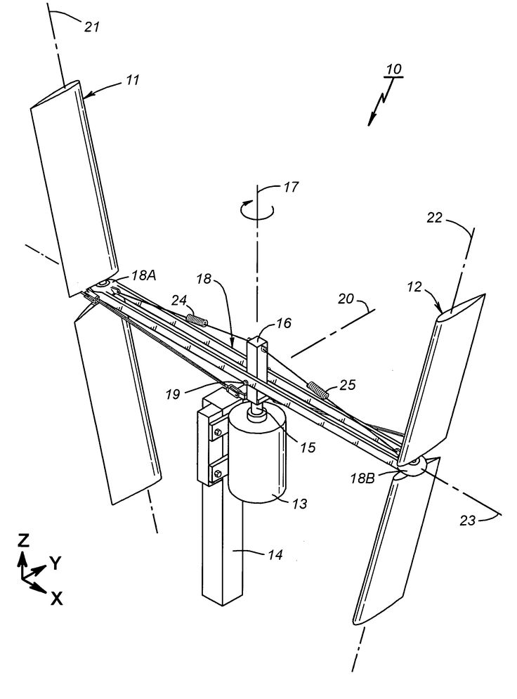 Patent US7677862 Vertical axis wind turbine with