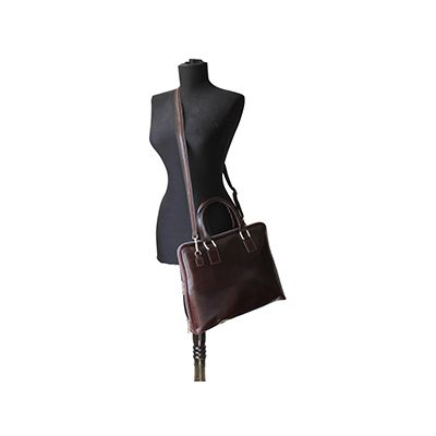 Ladies Dark Brown Leather Briefcase Handbag - RRP: £84.99, our price - £59.99