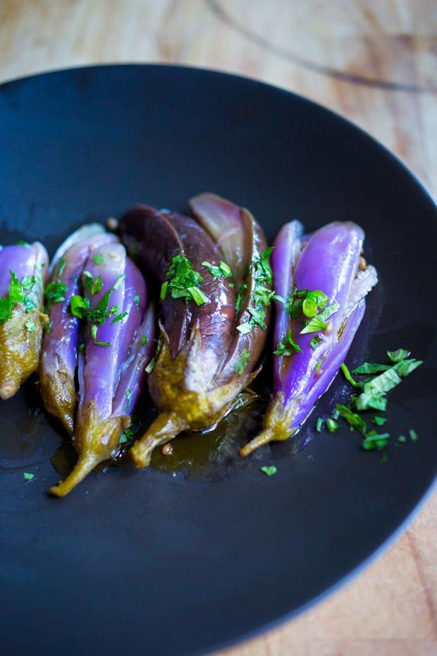 Moroccan Baby Eggplant Pickles |  Pickled Eggplants in the Moroccan tradition, drizzled with Olive oil and cilantro