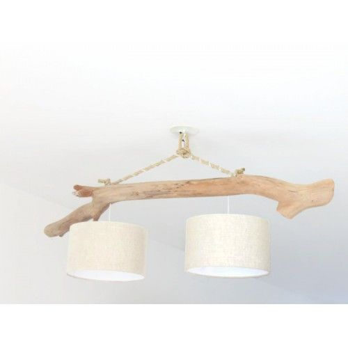 Lustre/plafonnier en bois flotté - lin 30cm - création unique - double suspension - Led slow deco | JourDePluieCreations