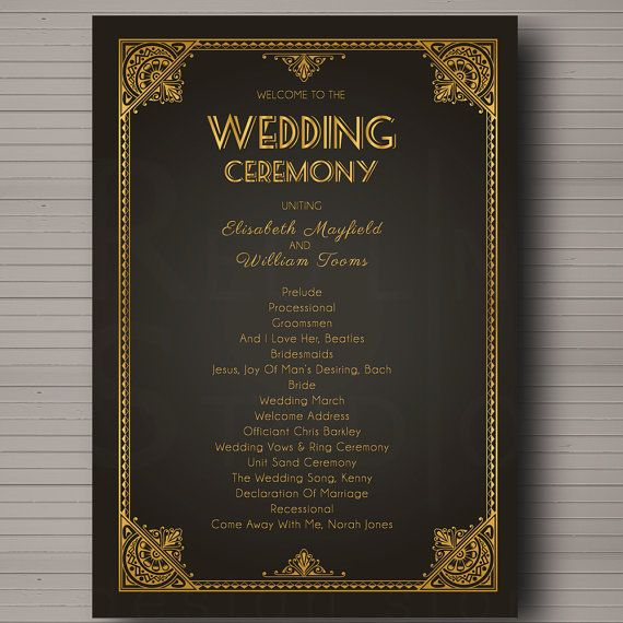 Hey, I found this really awesome Etsy listing at https://www.etsy.com/listing/178337235/wedding-program-great-gatsby-1920s-arte