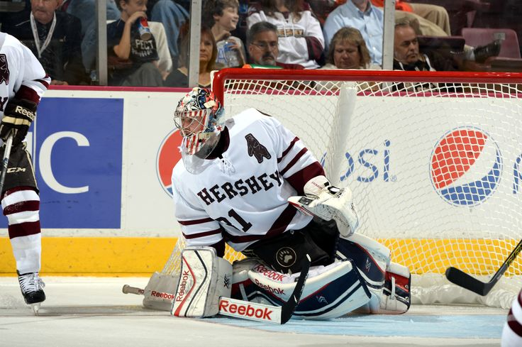10.25.14 - Hershey Bears goaltender, Philipp Grubauer. Photo courtesy of JustSports Photography