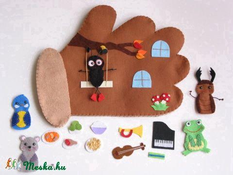 Kesztyűmese interaktív ujjbábkészlet, Játék, Baba-mama-gyerek, Társasjáték, Készségfejlesztő játék, Meska