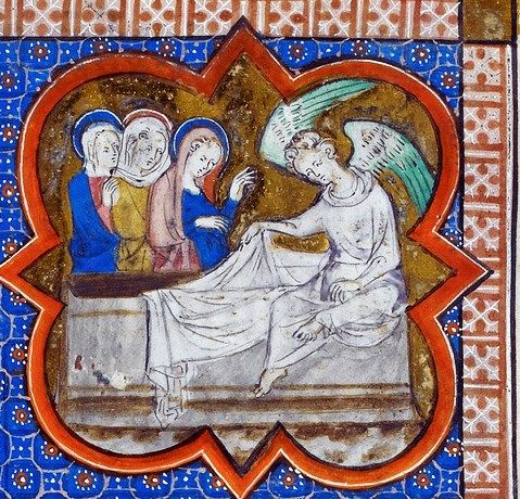 British Library - Royal 2 B VII fol-281 Passion of Christ, detail Holy Women at The Empty Tomb