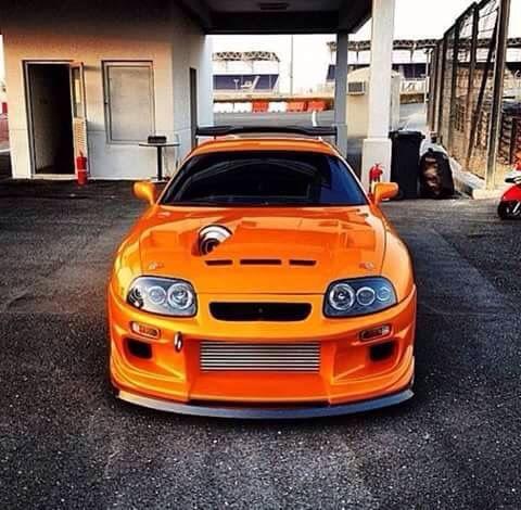#Toyota #Supra #Stance #Orange #Custom Hood Intake #Slammed #Import