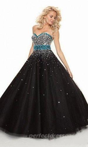 Empire Sweetheart Prom Dresses Black Long Prom Dresses 05481