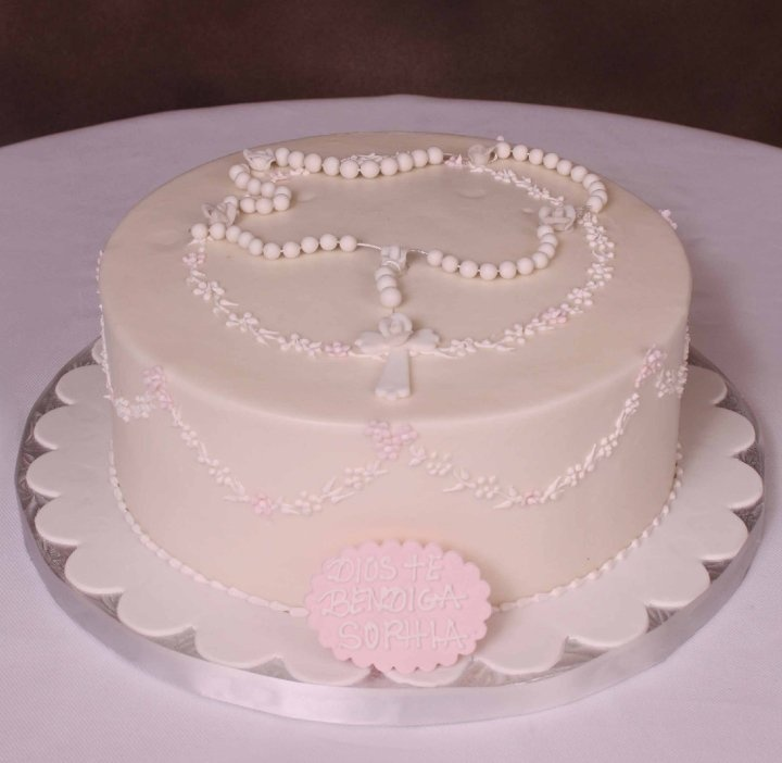 Single tier communion cake with rosary decor religious for 1st holy communion cake decoration ideas