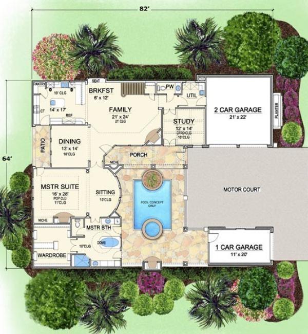 Villa palladian italian house plan courtyard house for Italian house plans with courtyard