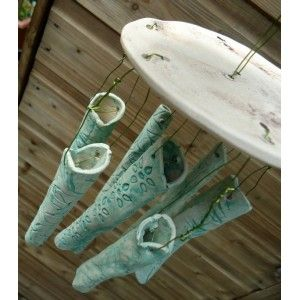 Green Ceramic Wind Chimes - Charlotte Hupfield Ceramics Shop
