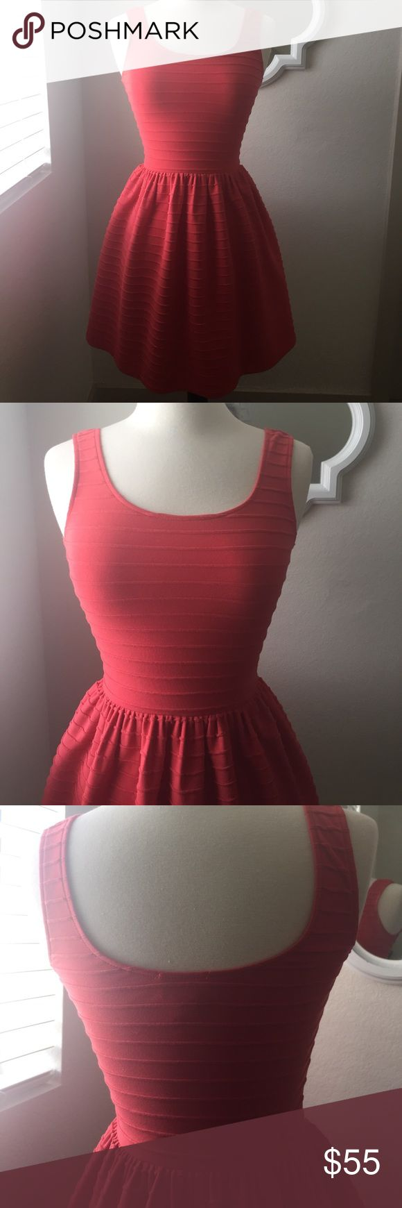 """Love ...Ady coral fit and flare mini dress size XS Love ...Ady fit and flare mini dress                                     Size : XS/0.    Stretch over   Zero flaws Color .. coral Boutique    28"""" length.       80% polyester.             15% Rayon.          5% Spandex     Made in USA. boutique Dresses Mini"""