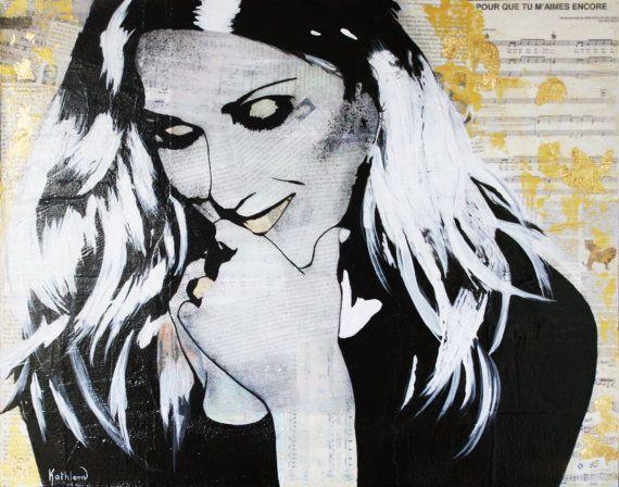 ART Celine DION Portrait Contemporary Mixed par KathleenArtistPro