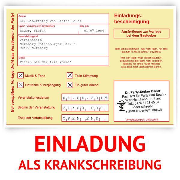 Einladungskarten   Einladungskarten Als Krankschreibung In Gelb   Ein  Designerstück Von Kartenmachen De Bei DaWanda