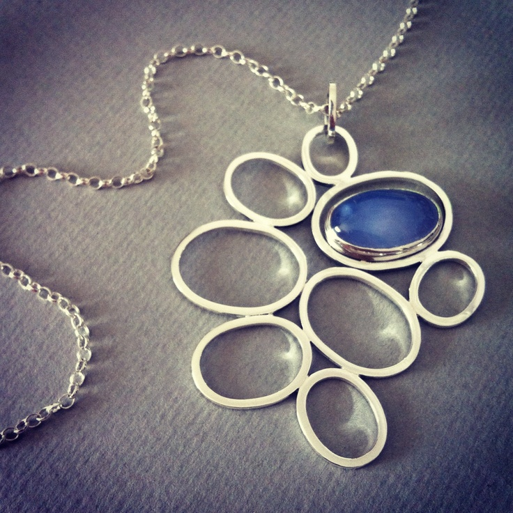 """Sterling Silver Pendant - """"Silver Wings"""" Collection - Chalcedony Pendant"""