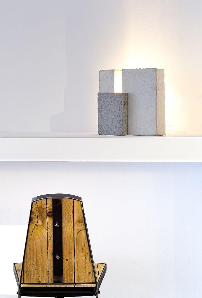 Lámpara-escultura cemento para el Hotel Siete Islas Madrid