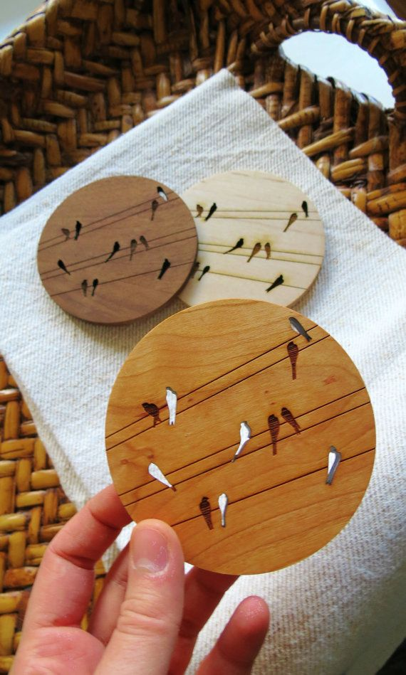 Wood Coasters Set of 4 Engraved Wood Coasters by GrainDeep