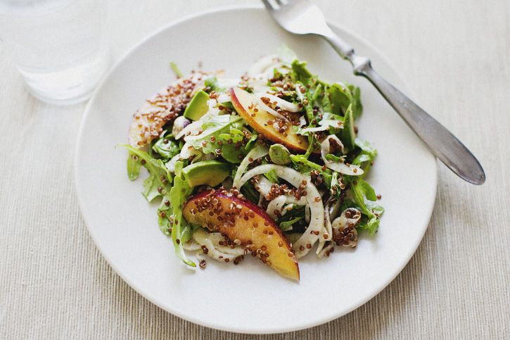 nectarine & fennel salad: Food Recipes, Avocado Recipes, Sprouts Kitchens, Salad Recipes, Avocado Salad, Fennel Salad, Red Quinoa, Whole Food, Nectarine