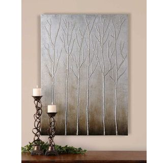 DIY art idea - love this painting, but can't afford it!  Thinking I could DIY something with the same feeling but with a little 3D - blank canvas, some air dry clay to make the tall, thin trees, spray paint it all silver, then distress it with inks.  I normally don't pin DIY ideas from products that can be purchased, but I really love this!