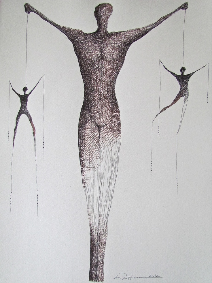 Åse Margrethe Hansen/Weighing the Options. Ink drawing, 2012
