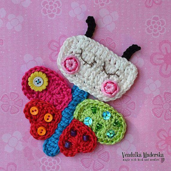 Arco iris crochet el applique mariposa patrón DIY por VendulkaM